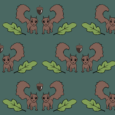 Squirrels and Acorns fabric by pond_ripple on Spoonflower - custom fabric