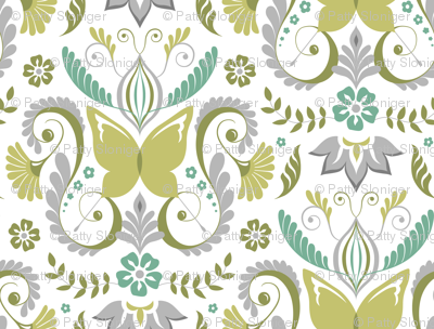 Butterfly Damask - Spring Mod Colors