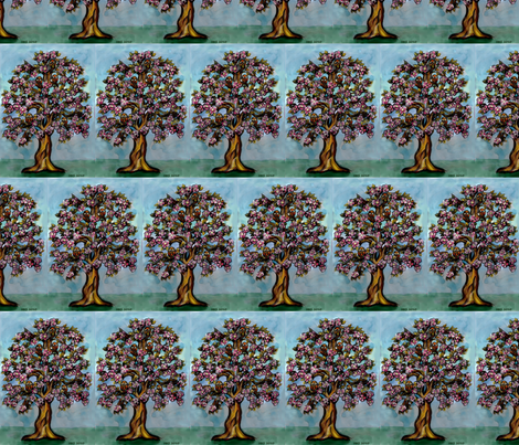 Family_of_owls_in_the_tree fabric by vinkeli on Spoonflower - custom fabric