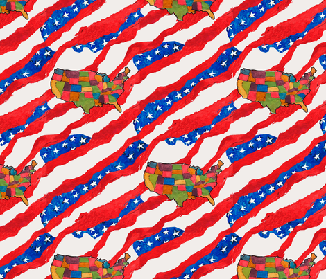 Map_of_the_USA_on_stripes fabric by dm_art_ on Spoonflower - custom fabric