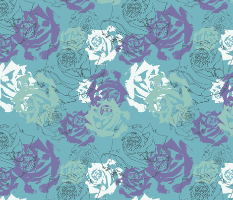 Blue_Purple_roses fabric by nikkibutlerdesign on Spoonflower - custom fabric