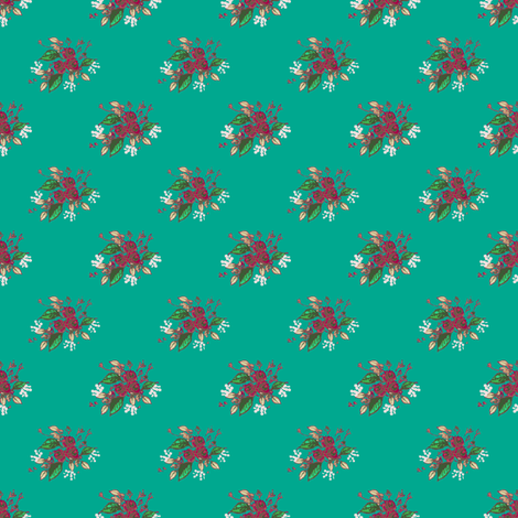 Roses in Teal fabric by joanmclemore on Spoonflower - custom fabric