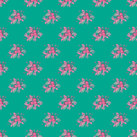 Roses in Teal with pink fabric by joanmclemore on Spoonflower - custom fabric