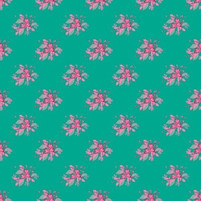Roses in Teal with pink