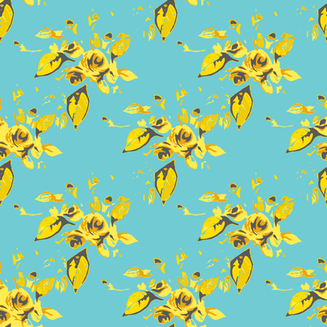 Roses Turquoise and Yellow fabric by joanmclemore on Spoonflower - custom fabric