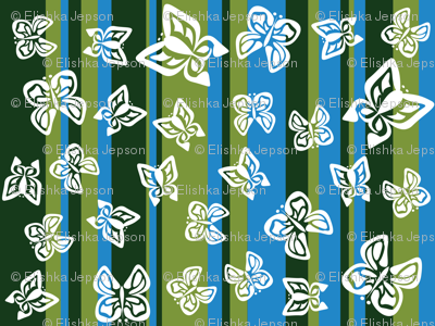 Green Butterfly Stripes