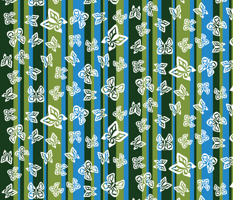 Green Butterfly Stripes fabric by robyriker on Spoonflower - custom fabric