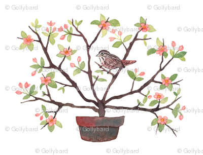 Sparrow and Spring Blossoms - Topiary Collection