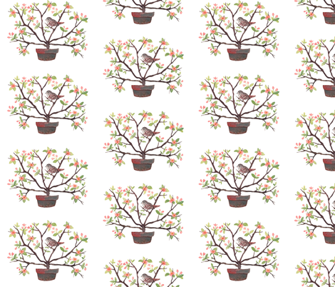 Sparrow and Spring Blossoms - Topiary Collection fabric by gollybard on Spoonflower - custom fabric