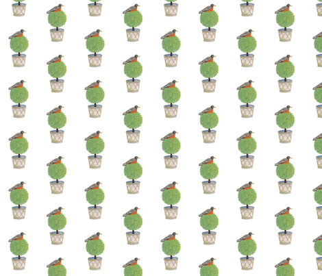 Robin and Boxwood - Topiary Collection fabric by gollybard on Spoonflower - custom fabric