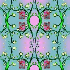 Birdcage and the magnolia tree