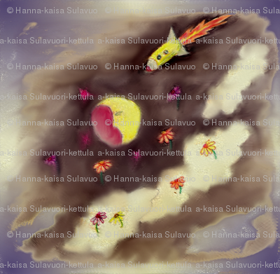 Moon rocket and flower clouds