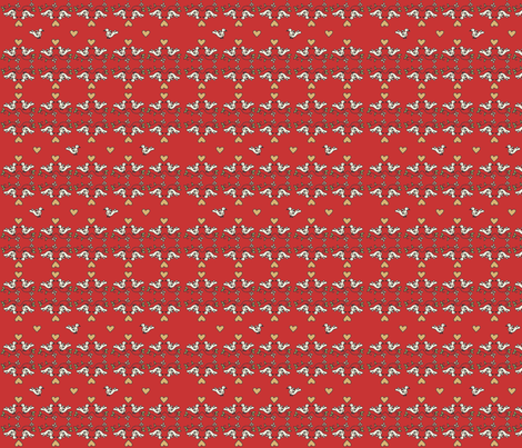 Birds in love - red fabric by catru on Spoonflower - custom fabric