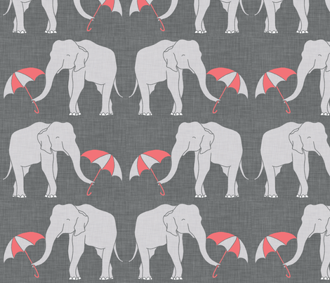 elephant_and_umbrella_coral fabric by holli_zollinger on Spoonflower - custom fabric
