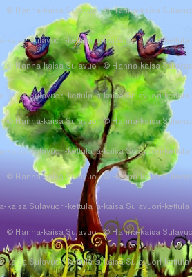 Fantasy birds in their night tree