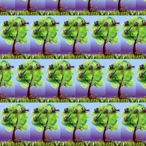 Fantasy birds in their night tree fabric by vinkeli on Spoonflower - custom fabric