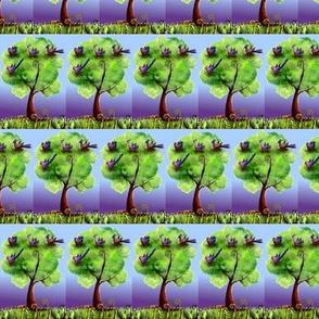 Fantasy birds in their night tree