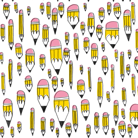 Yellow Pencils fabric by amywalters on Spoonflower - custom fabric