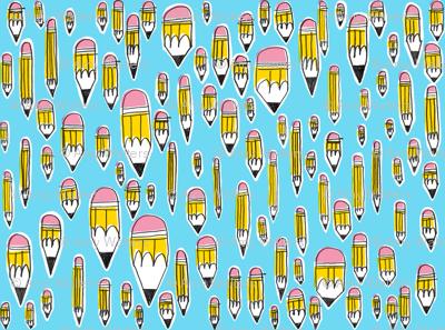 Yellow Pencils on Blue