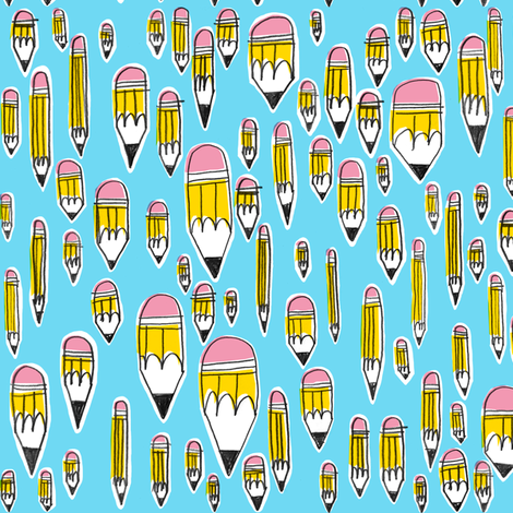 Yellow Pencils on Blue fabric by amywalters on Spoonflower - custom fabric