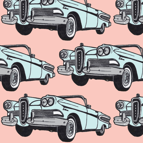 big blue 1958 Edsel Citation convertible on pink fabric by edsel2084 on Spoonflower - custom fabric