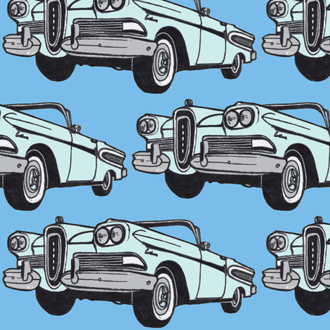 big blue 1958 Edsel Citation convertible fabric by edsel2084 on Spoonflower - custom fabric