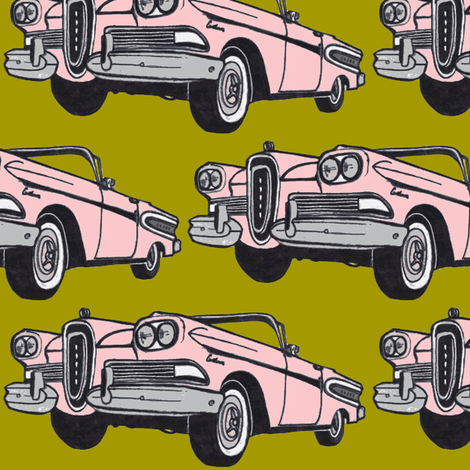 big pink 1958 Edsel Citation convertible on mustard background fabric by edsel2084 on Spoonflower - custom fabric