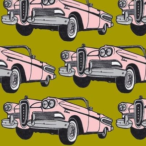 big pink 1958 Edsel Citation convertible on mustard background