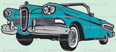 big, bold 1958  Edsel Citation convertible (turquoise/mint green)