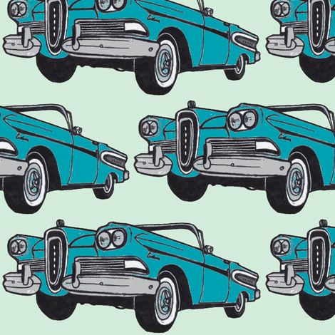 big, bold 1958  Edsel Citation convertible (turquoise/mint green) fabric by edsel2084 on Spoonflower - custom fabric
