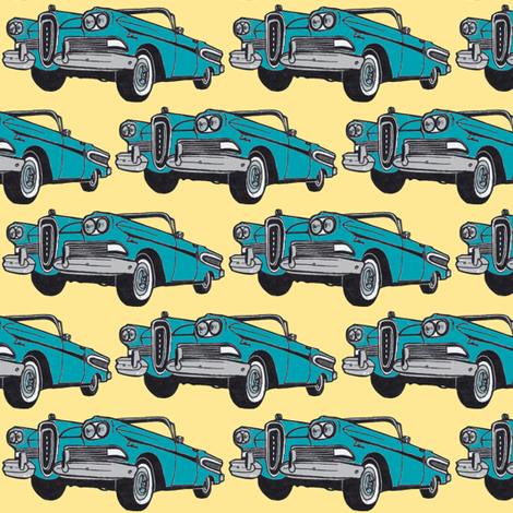 turquoise 1958 Edsel Citation convertible on light yellow fabric by edsel2084 on Spoonflower - custom fabric