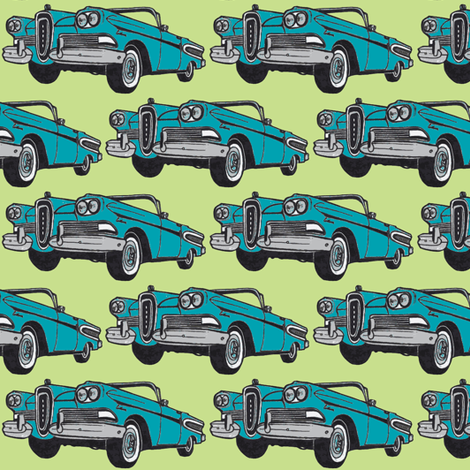 bold blue 1958 Edsel Citation convertible on lime background fabric by edsel2084 on Spoonflower - custom fabric