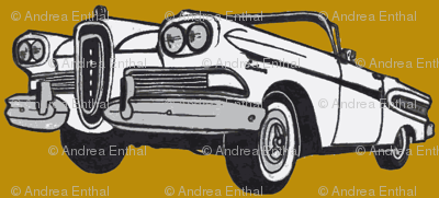 white 1958 Edsel Citation convertible on mustard background
