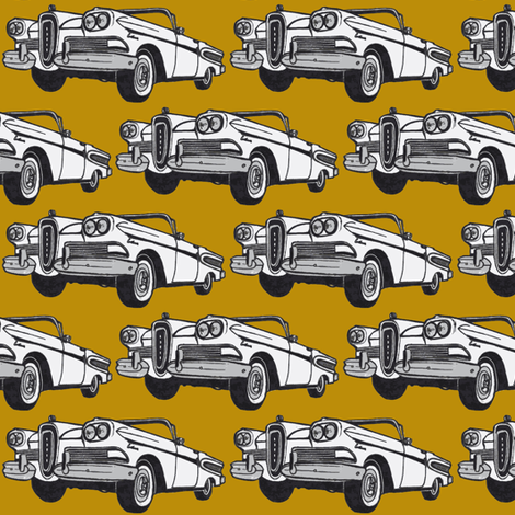 white 1958 Edsel Citation convertible on mustard background fabric by edsel2084 on Spoonflower - custom fabric
