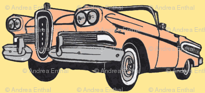 peachy 1958 Edsel Citation convertible, yellow background