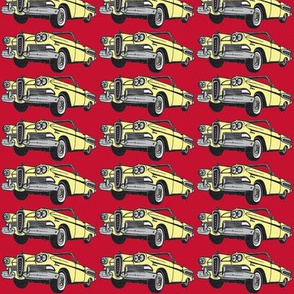 yellow 1958 Edsel Citation convertible on red background
