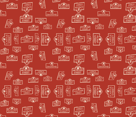 Derry City Streets Red_ Large fabric by cherryandcinnamon on Spoonflower - custom fabric