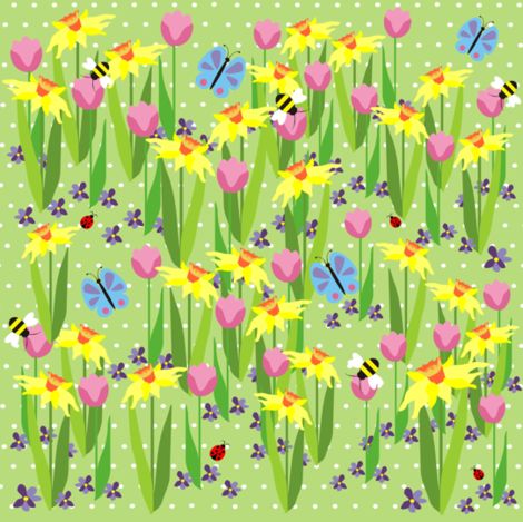 Spring flowers fabric by valcheck on Spoonflower - custom fabric