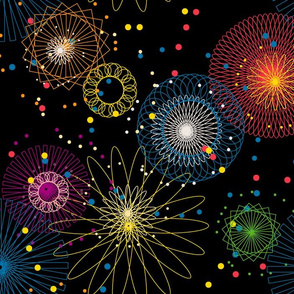 Spiroworks || geometric spirograph fireworks stars starburst 4th of July patriotic outer space galaxy
