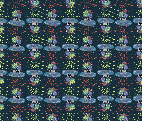 FIREWORKS OVER WATER SPECTACULAR!! fabric by gsonge on Spoonflower - custom fabric