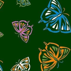 Psychedelic Butterflies in green