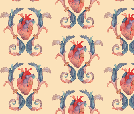 heart flourish fabric by mome_rath_garden on Spoonflower - custom fabric