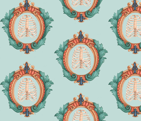 ribcage crest fabric by mome_rath_garden on Spoonflower - custom fabric