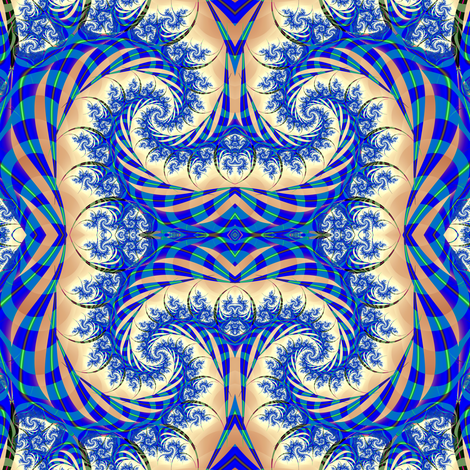Blue and beige swirl fabric by eclectic_house on Spoonflower - custom fabric