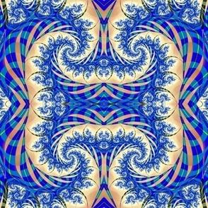 Blue and beige swirl