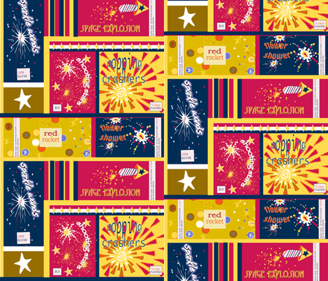 VINTAGE FIREWORK PACKAGES ©2011 Jill Bull fabric by fabricfarmer_by_jill_bull on Spoonflower - custom fabric
