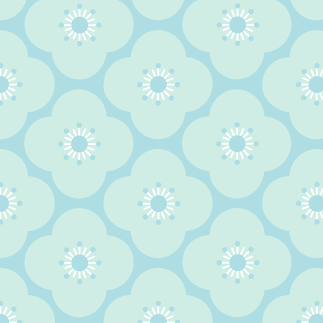 Bloom clouds - aqua fabric by kayajoy on Spoonflower - custom fabric