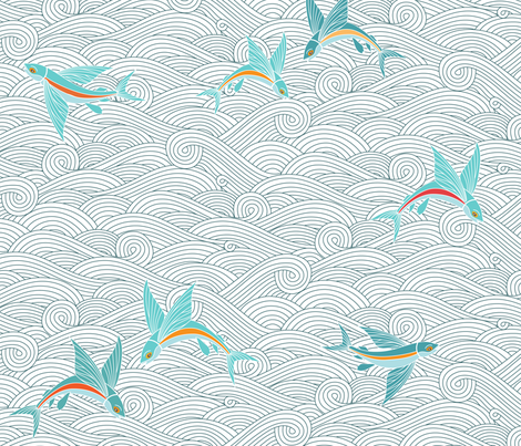 Flying Fish on the High Seas fabric by kayajoy on Spoonflower - custom fabric