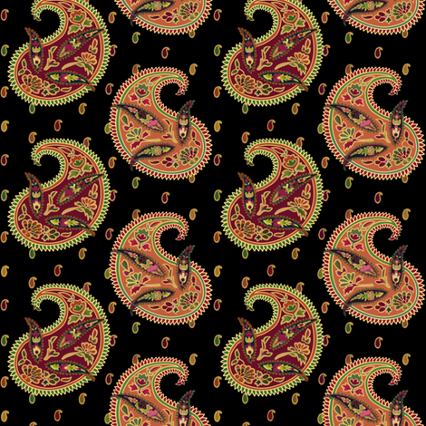 Angelica Teach Vest Paisley Black fabric by thimbelina on Spoonflower - custom fabric