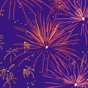 Fireworks Series I - 01 - Orange Fireworks on Blue-Violet
